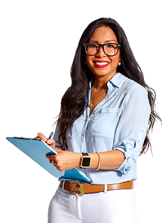 Casino jobs employee with glasses smiling while writing down her notes